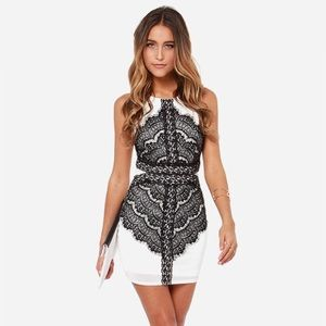 Lulu's Flaunt & Center Black & White Lace Dress